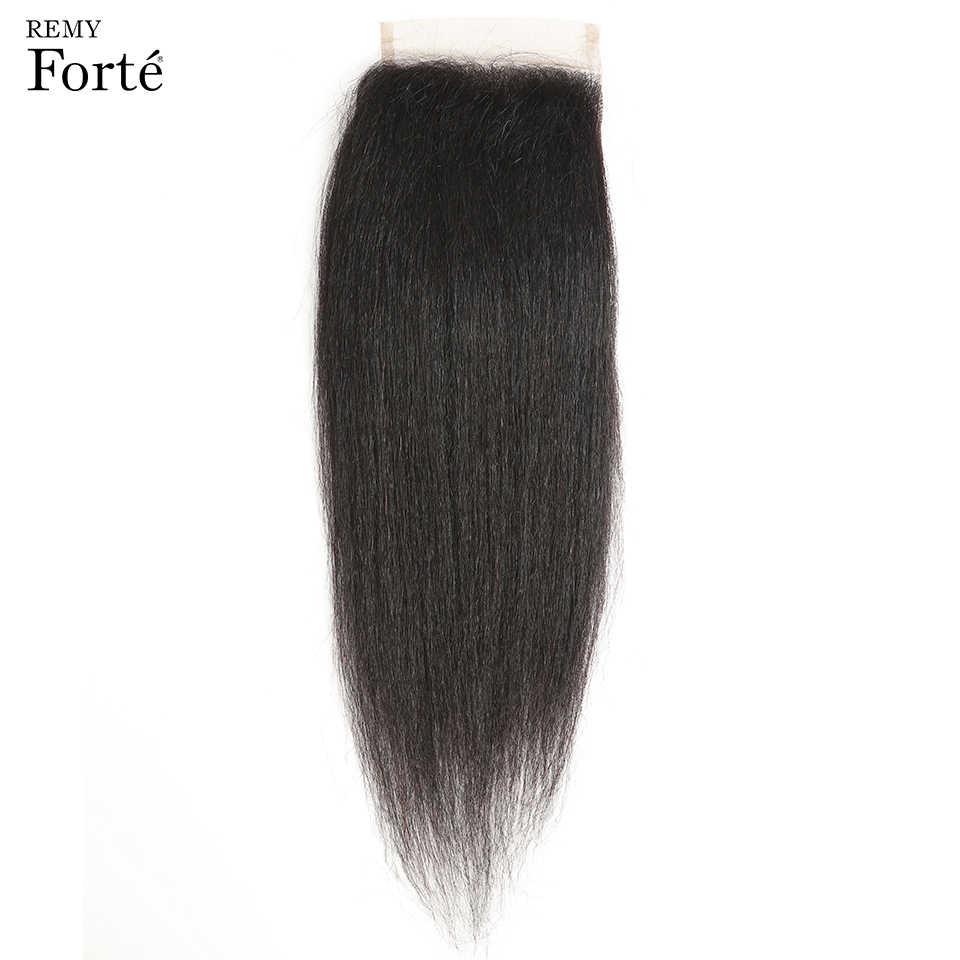 Remy Forte Yaki proste zestawy z zamknięciem 30 Cal ludzkie włosy 3/4 zestawy z zamknięciem włosy brazylijskie Remy splot zestawy