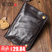 Original Handmade Wrinkle Wallet Leather Genuine Cow Leather Vertical Mens Wallets Retro Money Clips Short Billfold Purse