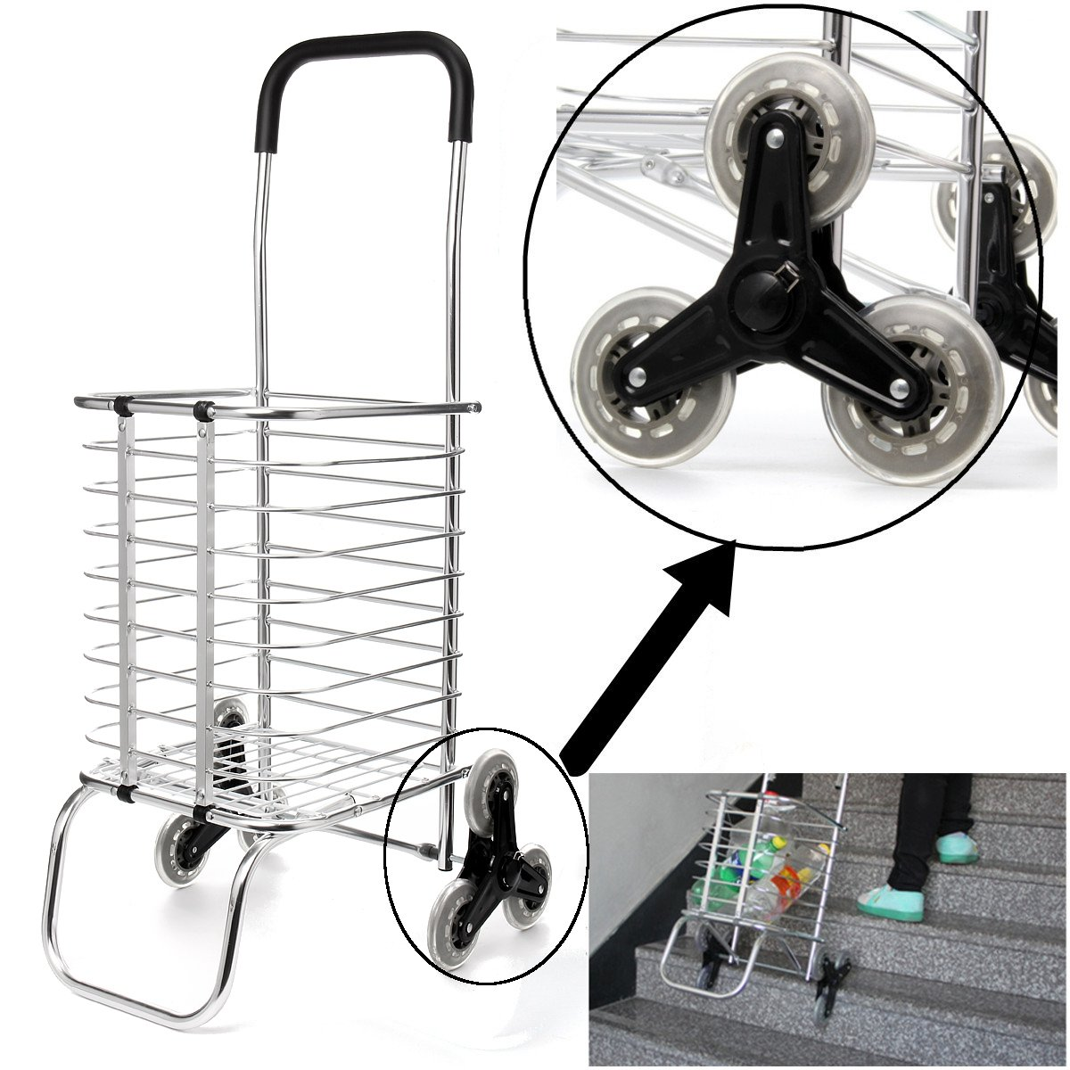 Shopping Carts Trolley Aluminium Foldable Luggage 6 Wheels Folding Basket Bag With Shopping Bag Oxford Upstairs