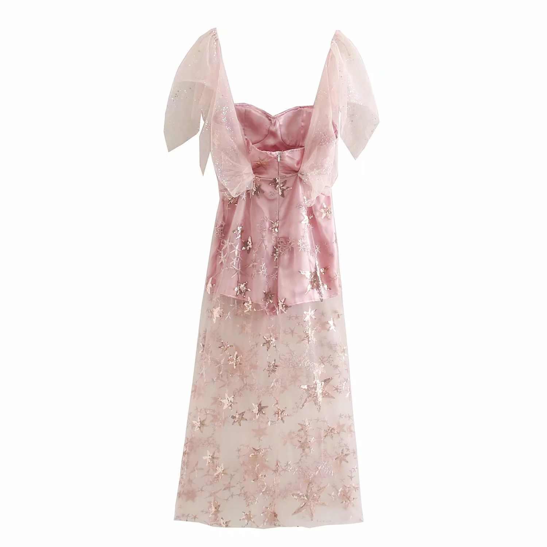 C0349-6291 damska sukienka nowe produkty gaza cekiny Romper ozdoby sukienka