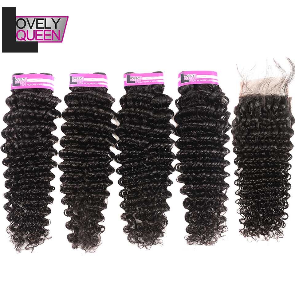 Lovely Queen Hair Brazilian Deep Wave 4 Bundles With Closure Human HairBundles With Closure Non Remy Hair Extensions