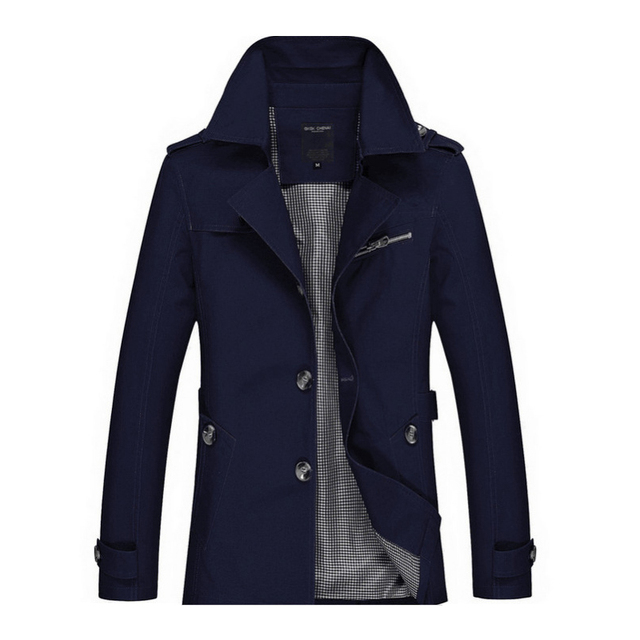 2021New Business Jacket Mens Fashion Spring Men Long Cotton Windbreaker Jackets Overcoat Male Casual Autumn Trench Outwear Coat 5