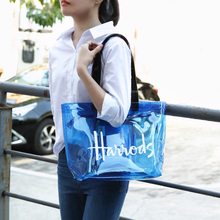 Summer Clear Tote Jelly Handbags with Zipper Closure PVC Washable Shopping Bag T