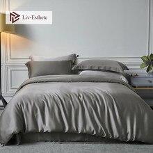 Liv-Esthete Nature 100% Silk Noble Gray Bedding Set Beauty Healthy Men Duvet Cover Double Queen King Bed Linen Set Free Shipping