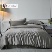 Liv Esthete Nature 100% Silk Noble Gray Bedding Set Beauty Healthy Men Duvet Cover Double Queen King Bed Linen Set Free Shipping