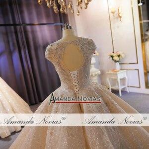 Image 3 - فستان زفاف فاخر ثقيل مطرز بالخرز الشمبانيا دبي فستان الزفاف 2020 صورة عمل حقيقية