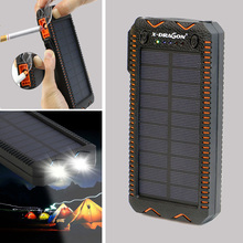 X-DRAGON Solar Power Bank Waterproof IPX5 External Battery with Bright Flashlight Strobe SOS LED Cigarette Lighter for Outdoors.