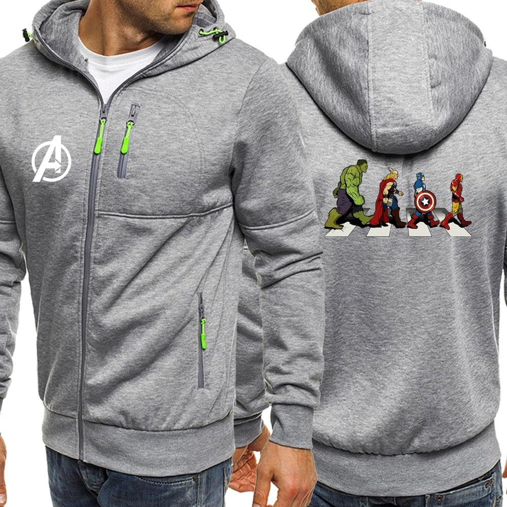 2019 Autumn Sportswear Men Hooded The Avengers Superhero Casual Coat Marvel Fleece Jackets Zipper Hoodie Streetwear Male Jacket