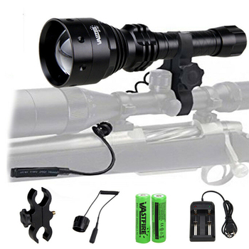 Zoomable Adjustable Infrared Light Hunting Torch Black 850nm IR Night Vision High Quality Long Range+18650 Battery+Charger+Mount tactical hunting torch ir night vision adjustable zoomable gun infrared illuminator flashlight black 850nm 18650 battery include