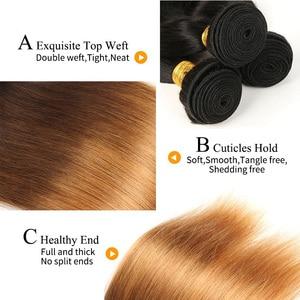 Image 4 - Alimice ハイライトヘア T1B/4/30 オンブルストレートヘアの束でペルー人毛閉鎖とバンドルを編む 3 トーン