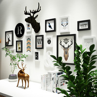 16pcs Boutique Nordic Style Elk Head Solid Wood Photo Frame Wall Stickers Home Decoration Ornaments