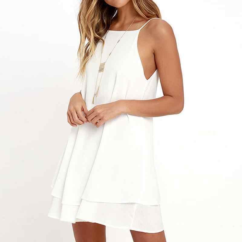 2020 kadın yaz elbisesi Boho tarzı kapalı omuz kolsuz şifon plaj elbise tunik Sundress gevşek parti elbise Vestidos