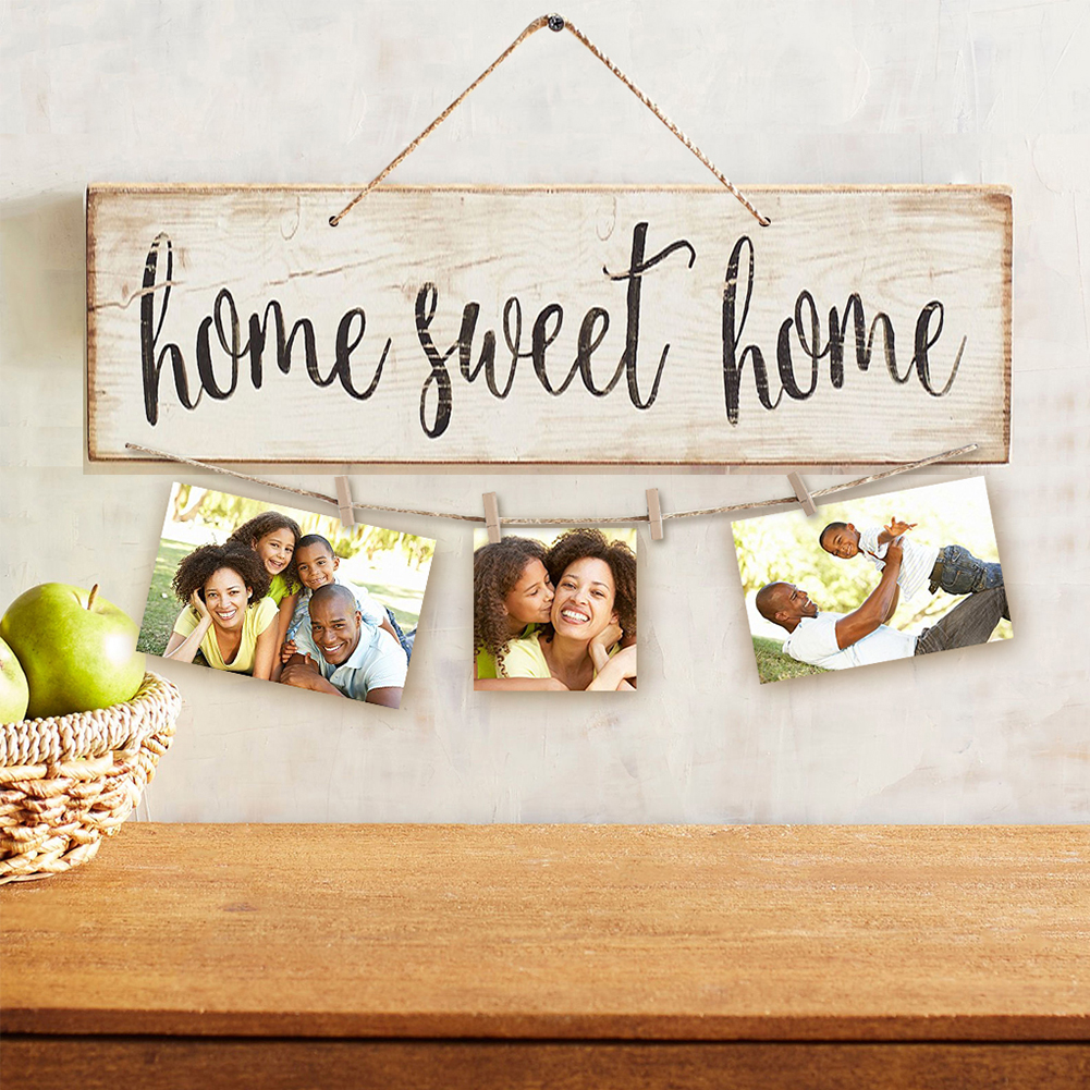 50cm Vintage Sweet Home Letter Printed Wooden Wall Hanging Decor Photo Clip Ornament Home Decoration