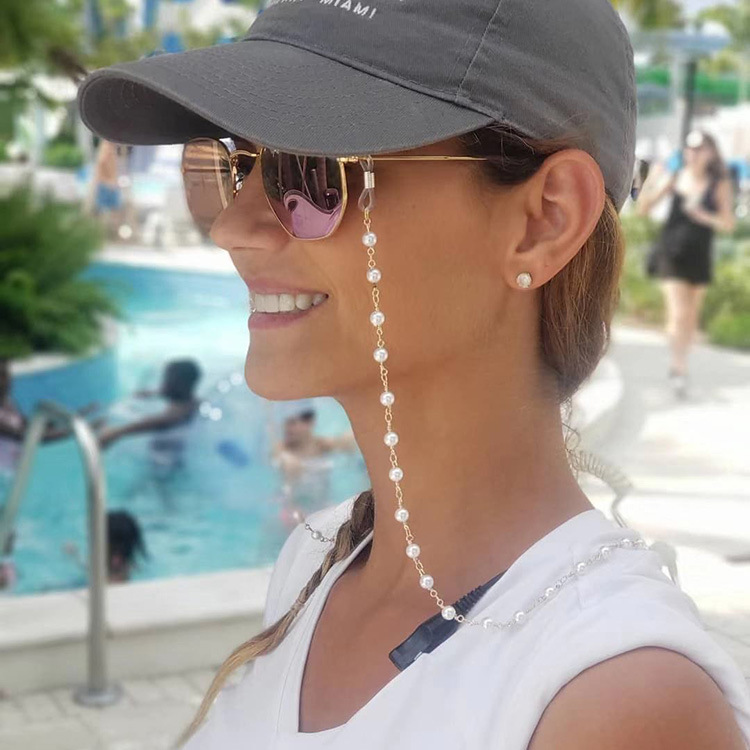 Fashion Eye Chain Jewelry Simple Imitation Pearl Glasses Chain Hanging Neck Anti-glass Strap Sunglasses Accessories For Women