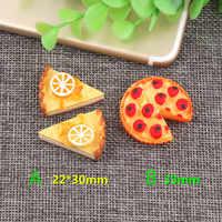 DIY resultados de joyería cabujones de resina Material colorido Pizza triángulos forma torta de arcilla cuentas encanto colgante Material 5 uds