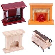1pcs Dolls House Accessories 1/12 Toys Mini Wood Fireplace Metal Rack With Firewood Decoration Miniature Furniture