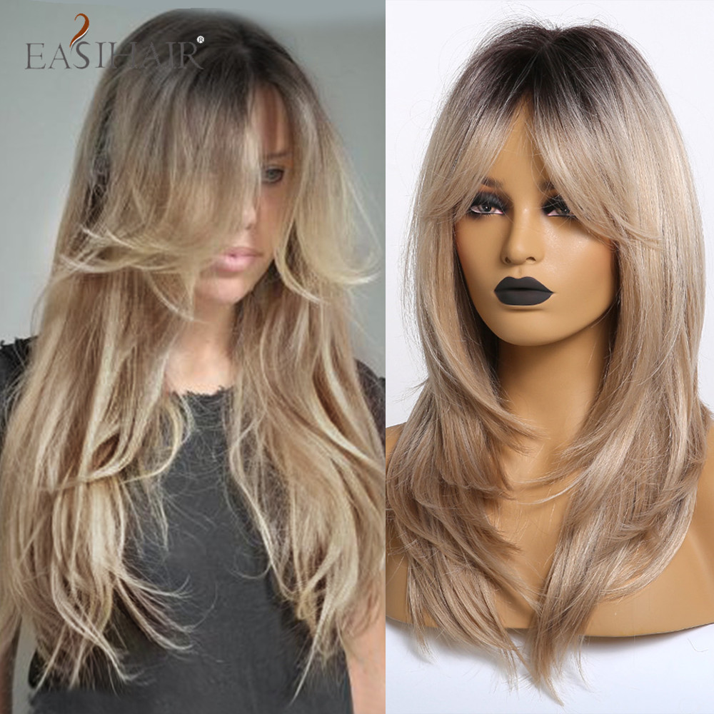 EASIHAIR Long Wavy Synthetic Wigs For Afro Women Blonde Ombre Hair Wigs With Bangs Layered Heat Resistant Cosplay Natural Wigs