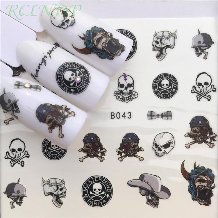Наклейка для ногтей художественное украшение слайдер голова черепа водные переводки маникюрный лак аксессуары полированная фольга