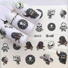 Etiqueta do prego arte decoração slider crânio cabeça transferência de água decalques manicure laca acessórios folha polonês