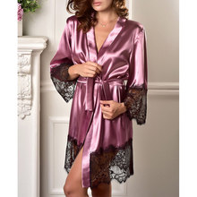 Gowns for Women peignoir femme Sexy Lingerie Lace bathrobe Sleepwear Nightwear wedding robe vintage Satin Silk bride kimono(China)