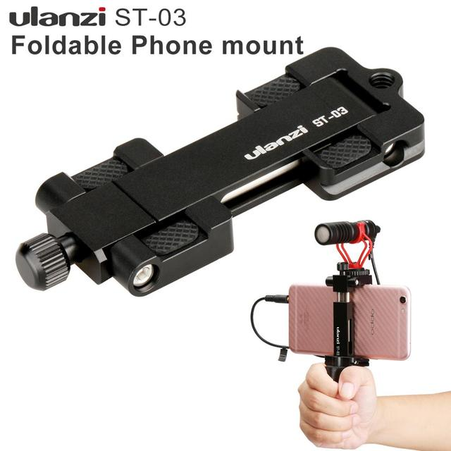 Ulanzi Metal Phone Tripod Mount With Cold Shoe Universal Clip Holder For SmartPhone Microphone Light For Iphone7 Samsung ST 03