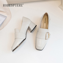 ROBESPIERE New Casual Slip-On Women Shoes Handmade Cow Leather Square Toe High Heels Ladies Fashion Buckle Pearl Pumps A12