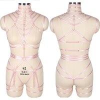 Strappy Full Body Belt Set Pink Crop Top Caged Sexy Garter Waist Plus Size Club Rave Chest Bra Harness Elastic Women Punk Boho