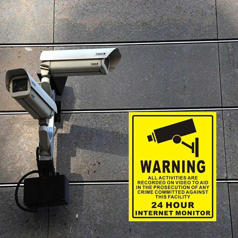 1/10pcs กันน้ำ PVC บ้านกล้องวงจรปิดการเฝ้าระวังวิดีโอความปลอดภัยกล้องนาฬิกาปลุกสติกเกอร์คำเตือนรูปลอกป้าย