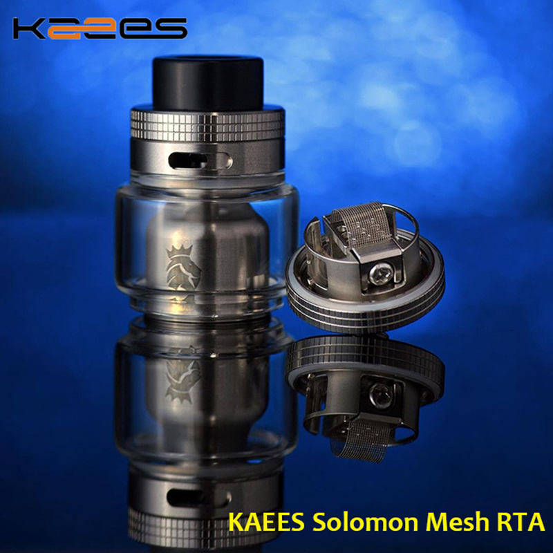 Original KAEES Solomon RTA Mesh Vape Tank 25mm With 810/510 Drip Tip& 6.5ml/3.5ml Capacity Electronic Cigarette Atomizer