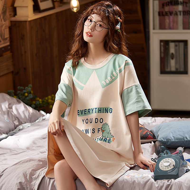 Nightgown Women's 6535 Cotton Thin Type For Spring And Autumn Full Body Dress Summer Mid-length Short Sleeve Large Size Fat Mm W