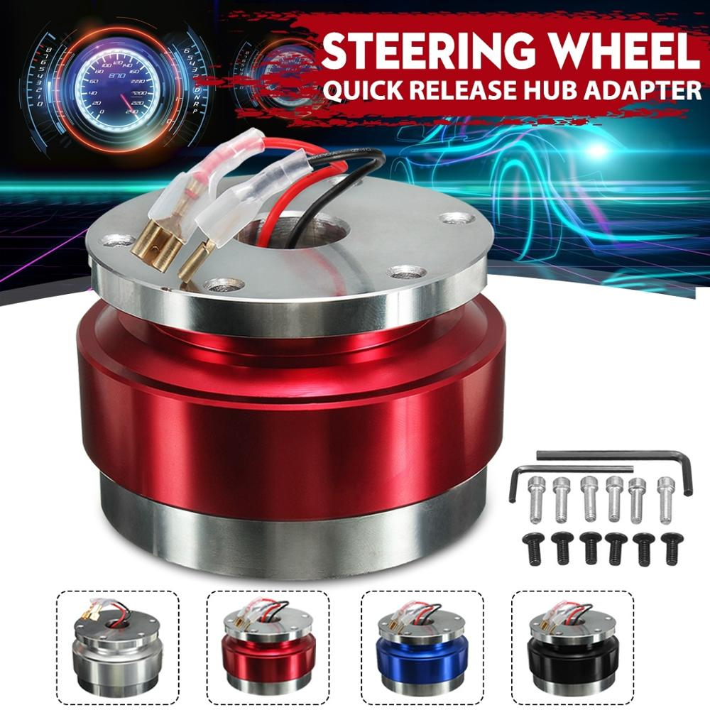 Cuque Aluminum Alloy Car Quick Release Hub Adapter Kit Universal Steering Wheel Hub Adapter for Racing Car Red