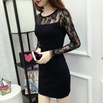 цена на Women Sexy Lace Mesh Mini Club Dress Solid High Waist Party Dress O Neck Long Sleeve Slim Sheath Dress