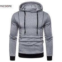 Miicoopie 2019 New Mens Hoodie Fashion Solid Long Sleeve Pullover Sweatshirt Street Wear