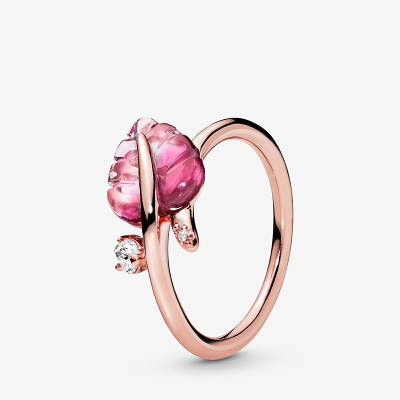 New Fashion Authentic 100% 925 Sterling Silver Women Rings Pink Murano Glass Leaf Ring Rose Ring For Women Jewelry Anniversary
