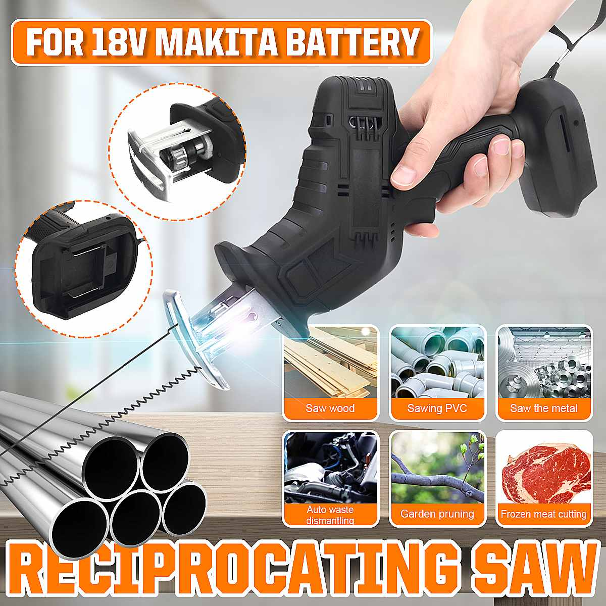18V Mini Cordless Reciprocating Saw Body Replacement Wood Cutting Tool Adjustable Speed Electric Saw Body for Makita Battery