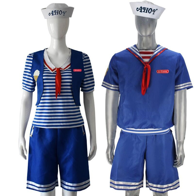 Stranger Things Season 3 Robin Steve Harrington Scoops Ahoy Ice Cream Shop Assistant Cosplay Navy suit Adult Child-in Movie & TV costumes from Novelty & Special Use