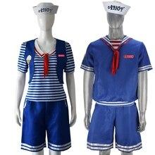 Stranger şeyler sezon 3 Robin Steve Harrington kepçe Ahoy dondurma dükkanı yardımcısı Cosplay donanma takım elbise yetişkin çocuk