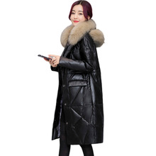 2019 Loose Faux Leather Coat Womens Winter Jackets Thickening Fur Overknee Down Parka  Female Cotton Jacket Plus Size 3XL Hot цены онлайн