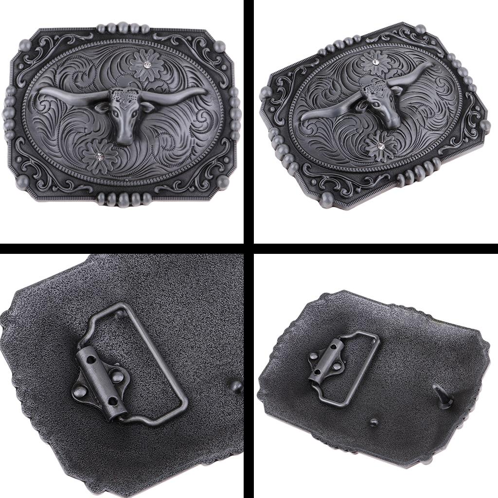 Hebilla Cinturon Western Cowboy Cowgirl Zinc Alloy Long Horn Bull Head Belt Buckle Jeans Accessory