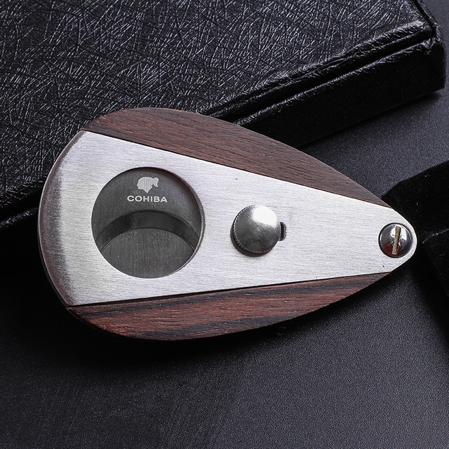 New 1pcs Cohiba cigar Cutter cigar scissors Wood sector edged stainless steel blade Cigar Accessories 6