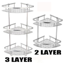 For Shampoo Soap Cosmetic Basket Holder Hot Sale 2 Layer Bathroom Corner Shower Shelf Aluminum Triangular Rack Storage Organizer(China)