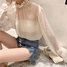 Sexy Shirts Women Chiffon Solid Kawaii Ruffled Flare Sleeve Shirt Trendy Womens All-match Korean Style Elegant Chic Blouses Cute