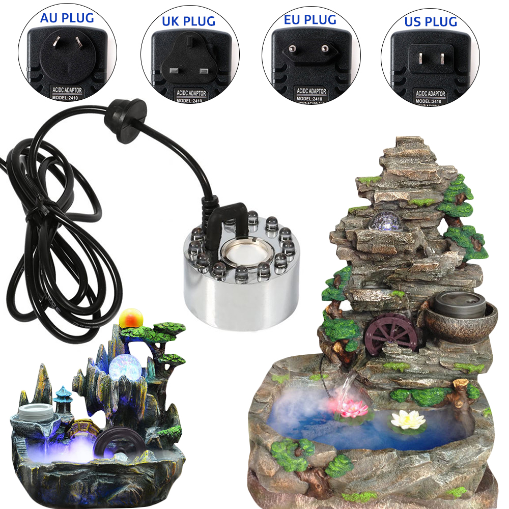 Aquarium Mist Maker LED Aquarium Sprayer Fogger Atomizer Water Fountain Pond Atomizer Aquarium Fish Tank Decoration Supplies D35
