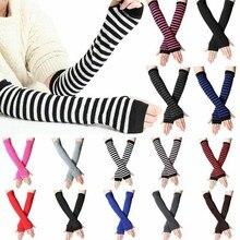 Knitted Gloves Open-Finger-Sleeve Arm-Wrmer Half-Finger Cute Wrist-Cover Versatile Autumn