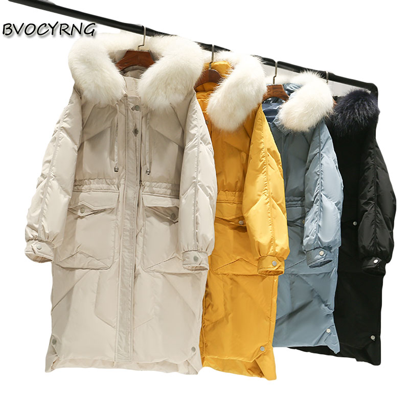 High-end   down     coat   female 2019 new winter large fur collar long white duck   down   parka women hooded fashion slim casual outerwear