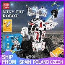 Blocos de construção do rei molde brinquedos criativos app rc robô elétrico controle remoto inteligente robô tijolos crianças brinquedos presentes natal