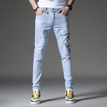New skinny jeans men  ripped jeans for  men embroidery elastic pants  trousers cotton hip hop Summer Spring  light blue hot sale 2017 new arrival spring fashion men jeans famous brand blue skinny denim ripped jeans for men cotton biker jeans hombre