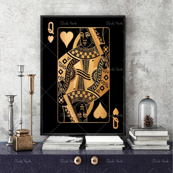 Abstract gold and silver playing cards king queen and jack hd print club club bar restaurant decoration poster