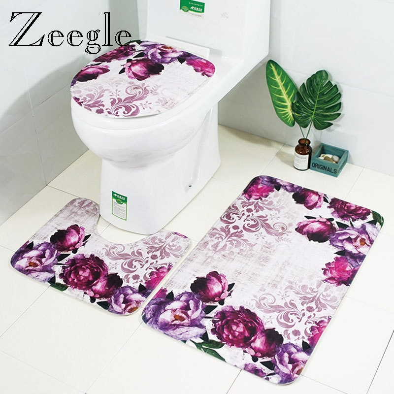 Zeegle Floral 3Pcs Bathroom Mat Set Anti slip Bathroom Floor Rugs Cushion Toilet Seat Cover Toilet Bath Mat Bathroom Carpet Set-in Bath Mats from Home & Garden