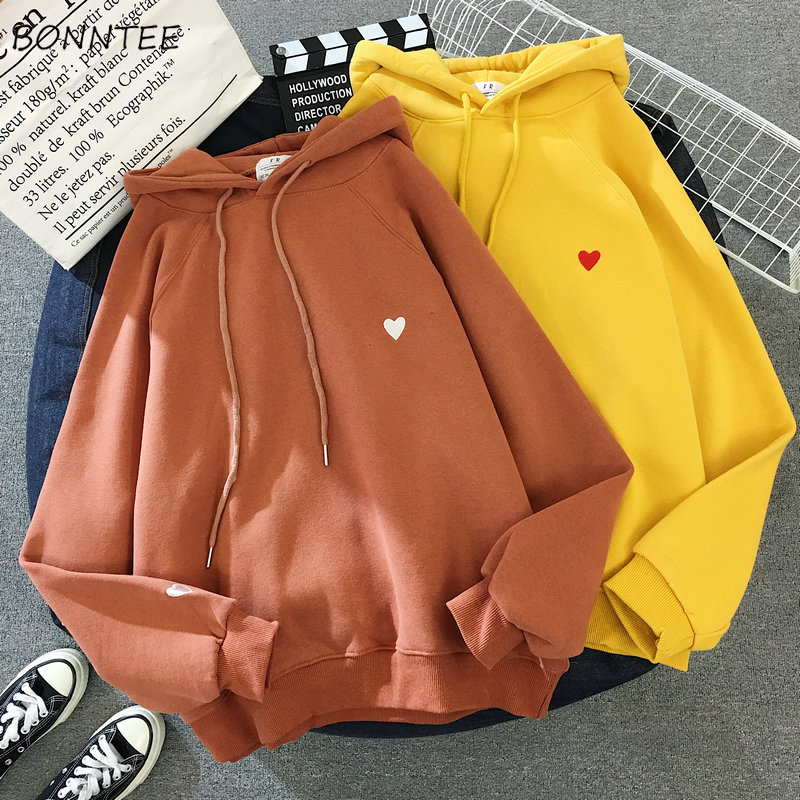 Hoodies Women Thicker Warm Korean Style Embroidery Printed Students Harajuku Streetwear Womens Hooded Plus Velvet Clothes Ladies